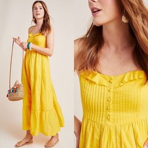Anthropologie Maeve Arcadia Maxi Yellow Dress NWOT